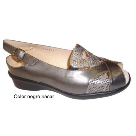 Trimas sandalias velcro para plantillas ortopédicas, color oro y plomo